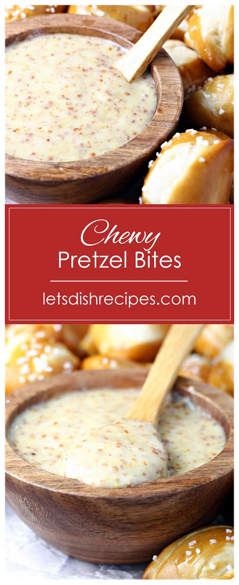Chewy Pretzel Bites with Honey Mustard Dipping Sauce
