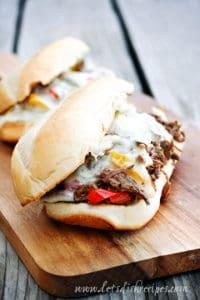 Slow Cooker Cheese Steak Sandwiches
