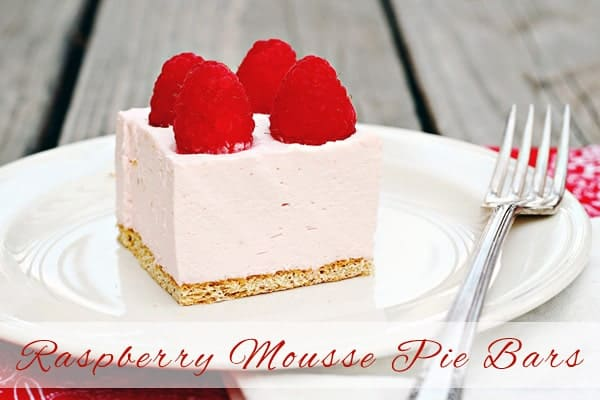 Raspberry Mousse Pie Bars