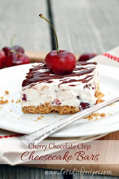 No-Bake Cherry Chocolate Chip Cheesecake Bars