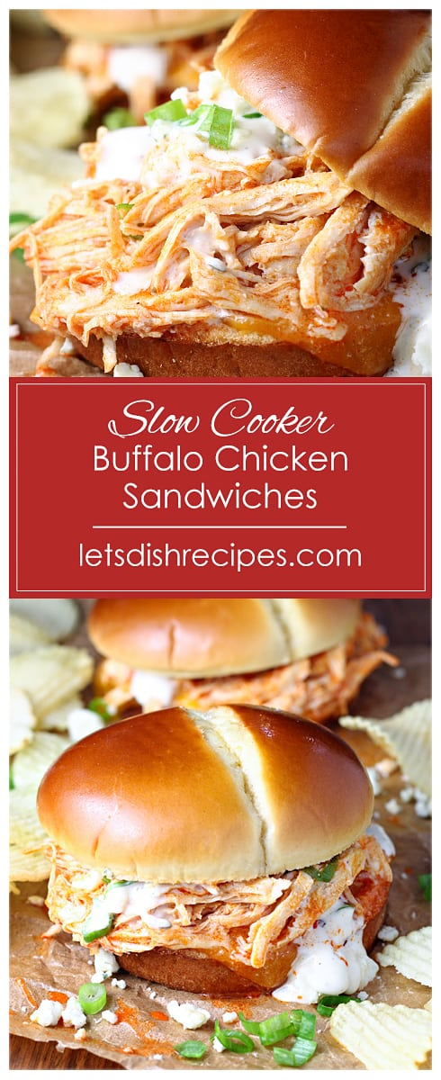 Shredded Buffalo Chicken Sandwiches (Slow Cooker)