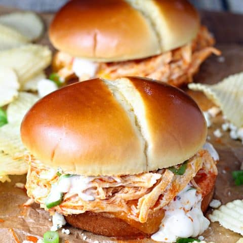 Shredded Buffalo Chicken Sandwiches Slow Cooker Let S Dish Recipes