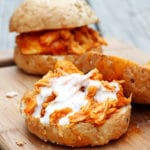 Slow Cooker Shredded Buffalo Chicken Sandwiches