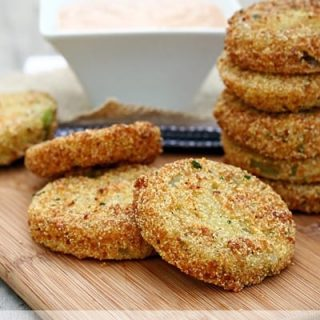 Fried Green Tomatoes with Barbecue Buttermilk Dipping Sauce