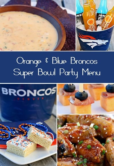 Blue and Orange Broncos Themed Superbowl Party Menu