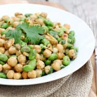 Chickpea Edamame Salad with Avocado Ginger Dressing