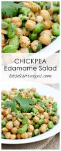 Chickpea Edamame Salad with Avocado Ginger Dressing
