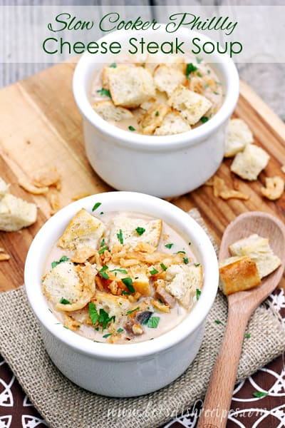 Slow Cooker Philly Cheese Steak Soup