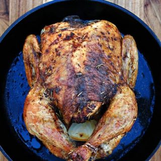 Easy Rotisserie Style Roast Chicken with Pan Gravy