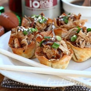 Pulled Pork Wonton Cups with Dr Pepper Glaze