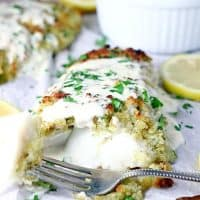 Panko Parmesan Crusted Cod with Lemon Cream Sauce