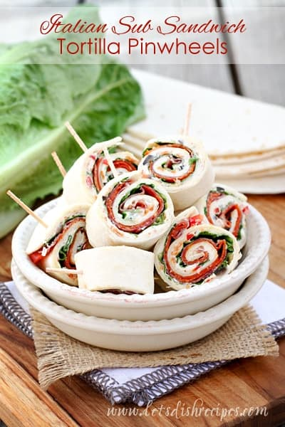 Italian Sub Sandwich Tortilla Pinwheels | Let's Dish Recipes