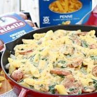 Penne with Spinach, Sausage and Swiss