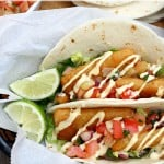 Quick Fish Tacos with Avocado Ranch Dressing