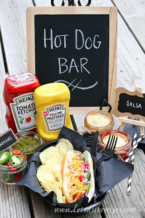 Graduation Party Hot Dog Bar and Mini Mason Jar Pies