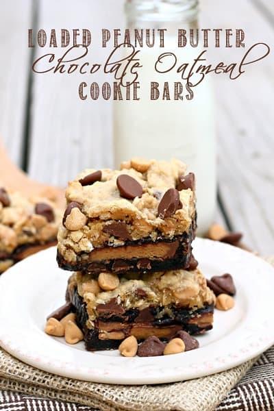 Loaded Peanut Butter chocolate Oatmeal Cookie Bars