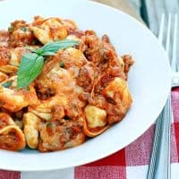 Slow Cooker Cheesy Sausage Tortellini