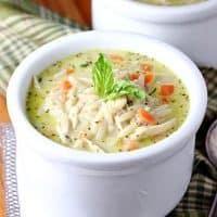 Creamy Chicken Orzo Pesto Soup