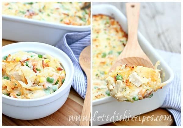 Cheesy Chicken Pot Pie with Hashbrown Crust