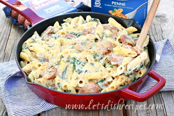 Penne with Spinach, Sausage and Swiss (Gluten Free)