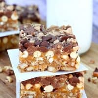Chocolate Peanut Pretzel Toffee Bars