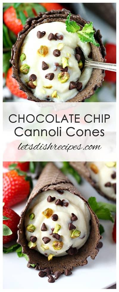 Chocolate Chip Cannoli Cones
