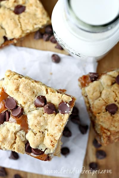 Dulce de Leche Oatmeal Chocolate Chip Cookie Bars