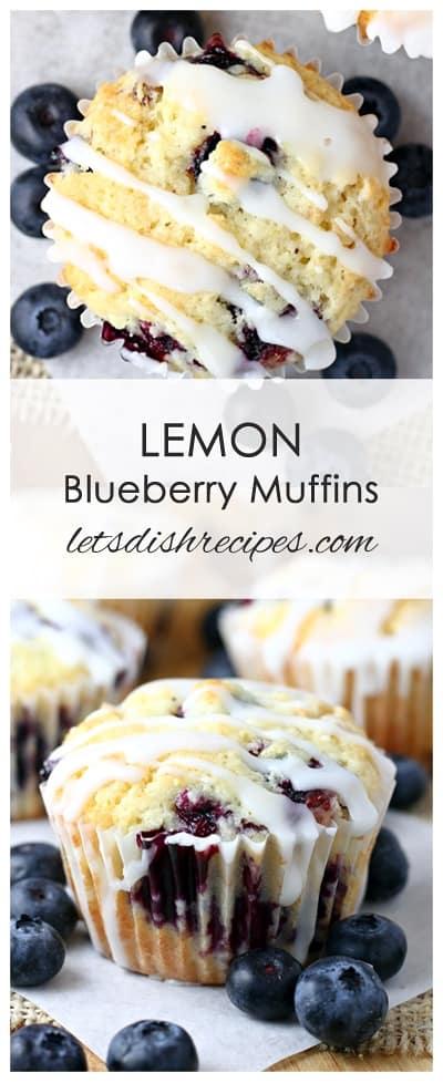 Lemon Blueberry Muffins with Lemon Glaze
