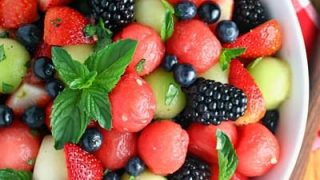 Melon Berry Fruit Salad with Honey Lime Dressing