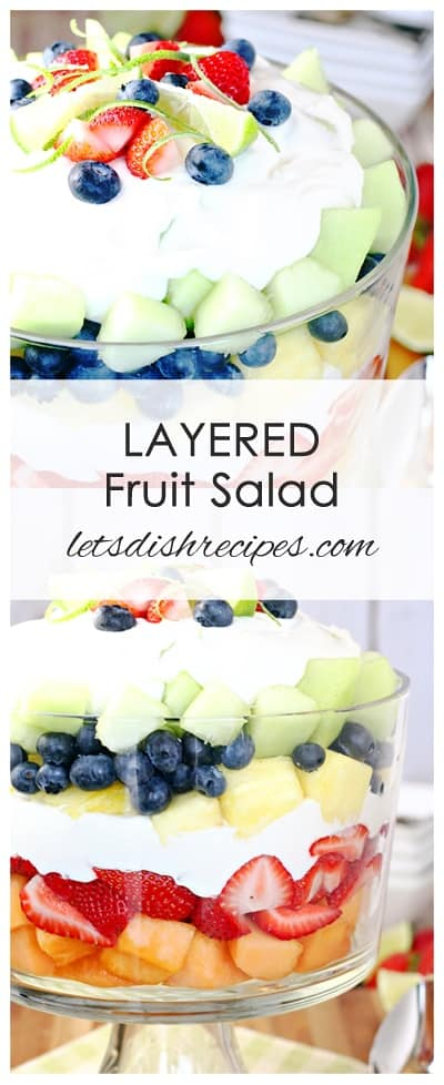 Layered Summer Fruit Salad with Creamy Lime Dressing