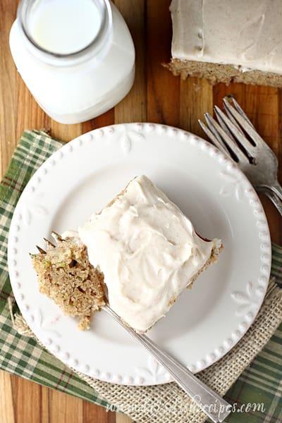 Zucchini Banana Snack Cake with Cream Cheese Frosting