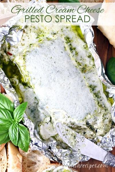 Grilled Cream Cheese Pesto Spread