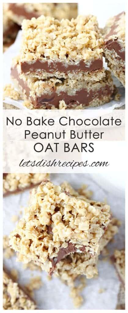 No Bake Chocolate Peanut Butter Oat Bars