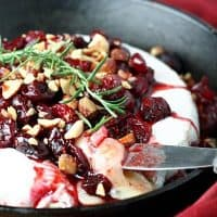 Baked Brie with Balsamic Roasted Cranberries and Smoked Almonds