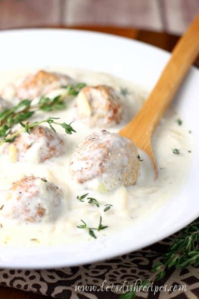 Creamy Slow Cooker Meatball Orzo Stew