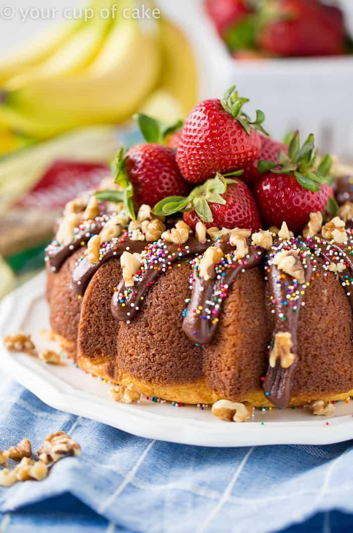 Banana Split Bundt Cake