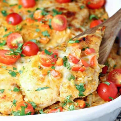 Queso Chicken and Rice Bake