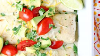 Baked Chicken Chimichangas with Creamy Green Chile Sauce