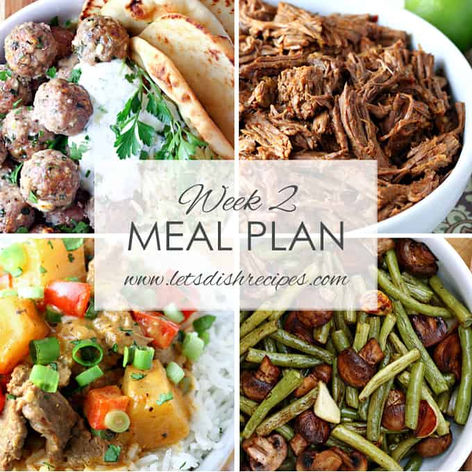 Easy Meal Plan Week 2