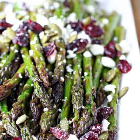 Maple Balsamic Roasted Asparagus with Cranberries and Feta