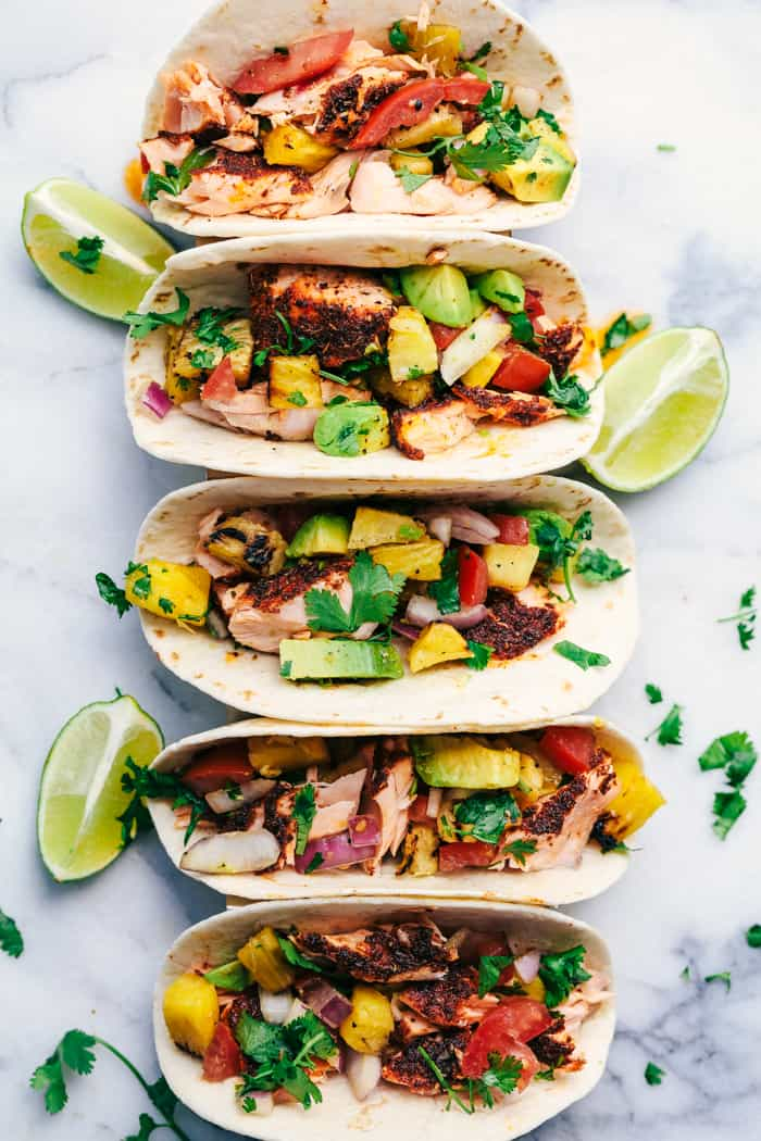 Grilled Blackened Salmon Tacos