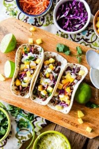 Red Curry Beef Tacos with Coconut Crema