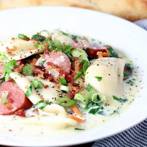 Sausage and Pierogi Soup
