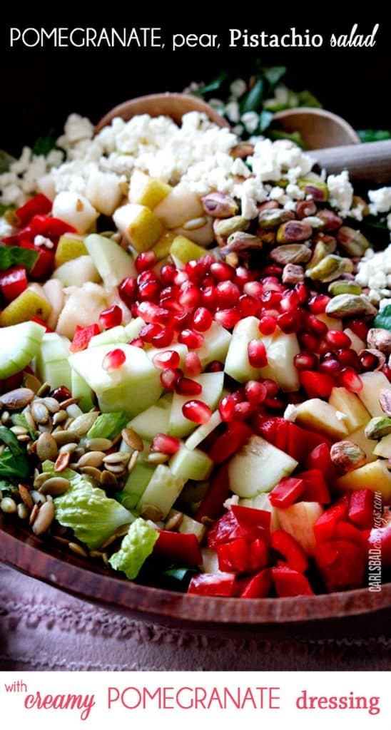Pomegranate, Pear, Pistachio Salad (with Creamy Pomegrate Dressing)