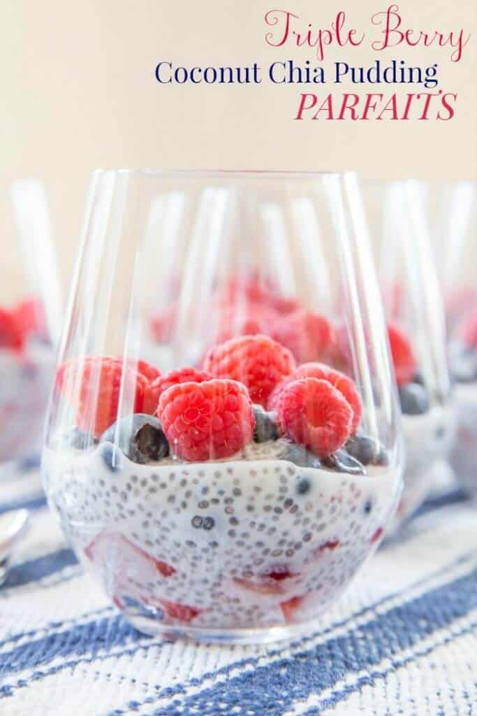 Triple Berry Coconut Chia Pudding Parfaits {Cupcakes and Kale Chips}