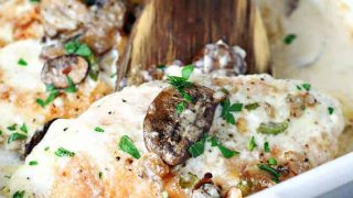 Baked Chicken Breasts with Mushroom Cream Sauce