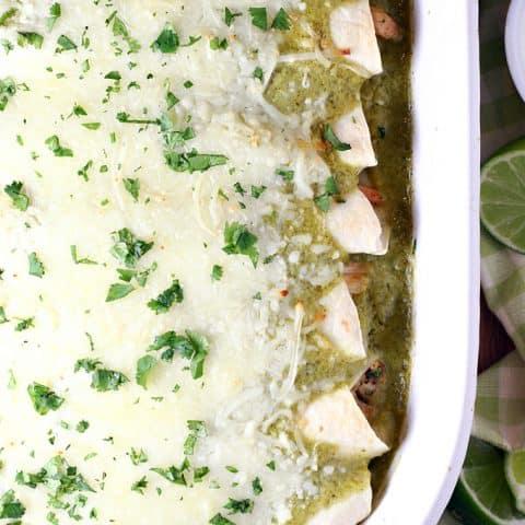 Honey Lime Chicken Enchiladas Verdes