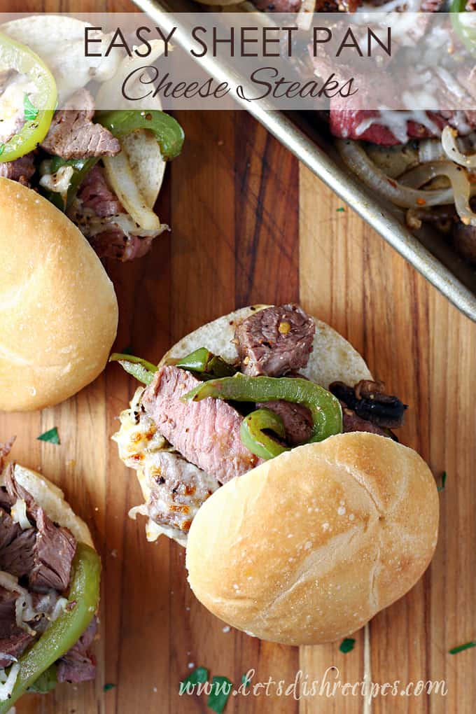 Sheet Pan Cheese Steak Sandwiches
