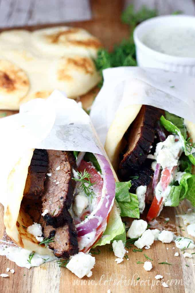 Steak Gyros With Tzatziki Sauce Let S Dish Recipes