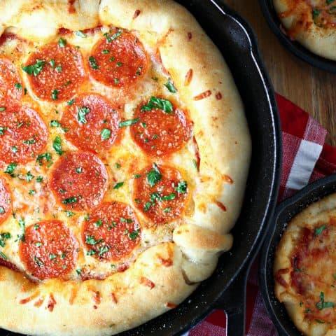Cast Iron Skillet Pepperoni Pizza